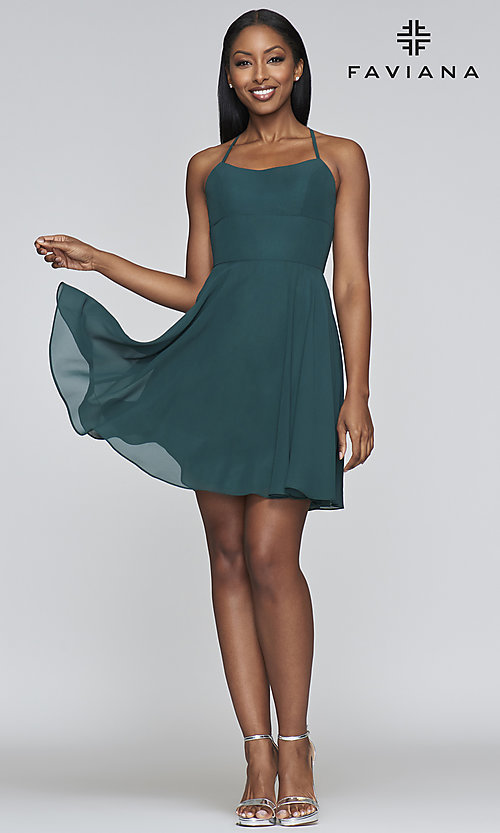 Image of evergreen short chiffon party dress by Faviana. Style: FA-S10369 Detail Image 1