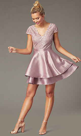Lace-Bodice Tiered Short Mauve Homecoming Dress