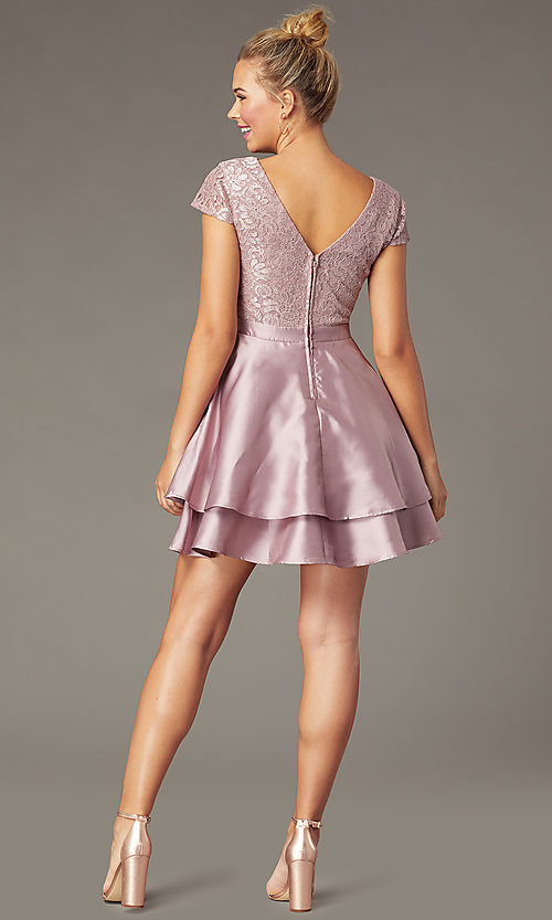 Image of lace-bodice tiered short mauve homecoming dress. Style: CT-3166AZ6AT3 Back Image