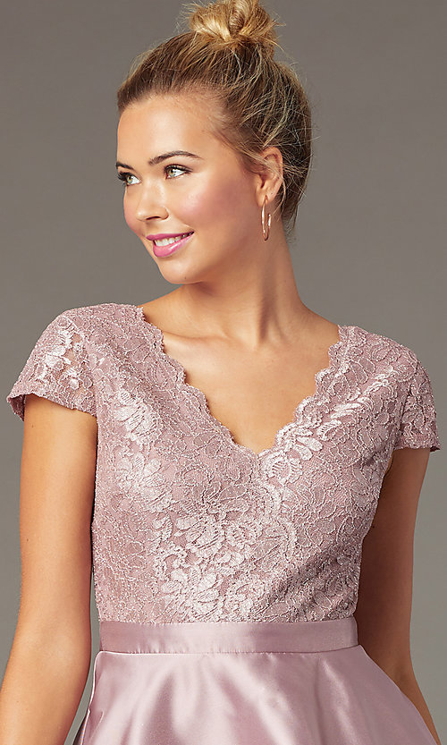 Image of lace-bodice tiered short mauve homecoming dress. Style: CT-3166AZ6AT3 Detail Image 1