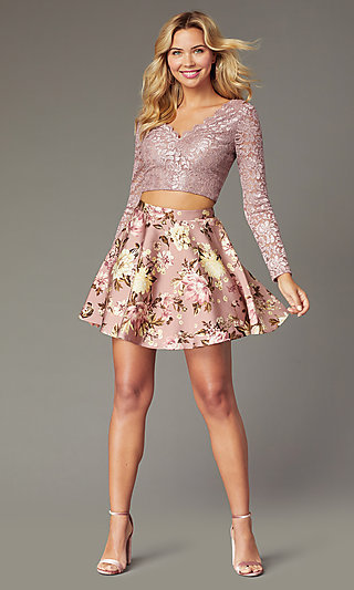 Long-Sleeve Short Two-Piece Homecoming Party Dress