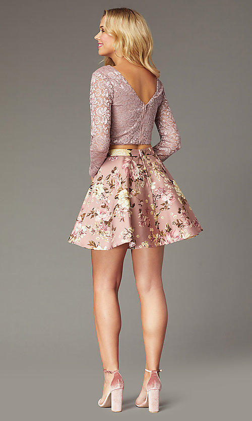 Image of long-sleeve short two-piece homecoming party dress. Style: CT-3166BC1AT3 Back Image