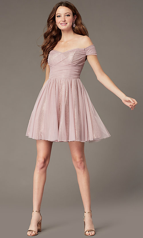 Image of rosey rose pink off-the-shoulder short party dress. Style: CT-8145CH4AT3 Detail Image 1