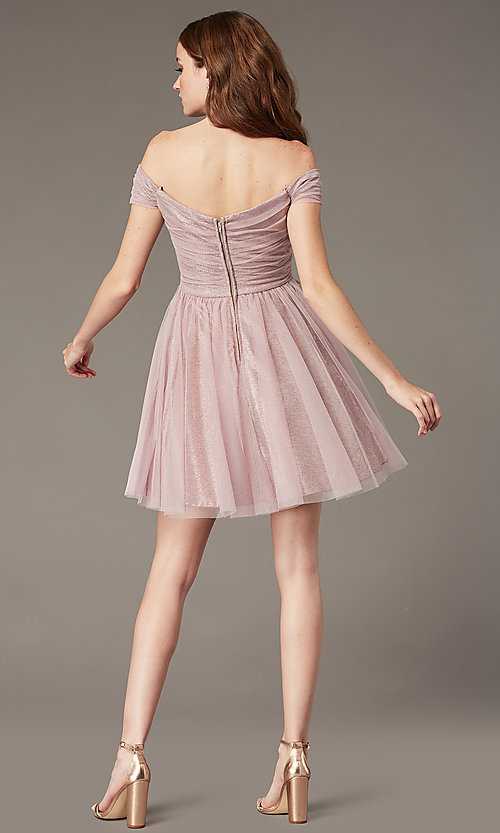 Image of rosey rose pink off-the-shoulder short party dress. Style: CT-8145CH4AT3 Back Image