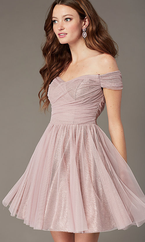 Image of rosey rose pink off-the-shoulder short party dress. Style: CT-8145CH4AT3 Front Image