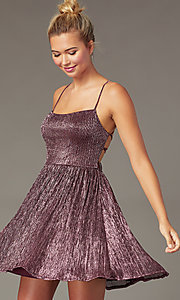 Image of pink glitter corset homecoming party dress. Style: CT-8217BW4AT3 Front Image