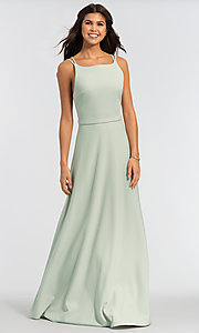 Image of light green long bridesmaid dress by Kleinfeld. Style: KL-200023-v Front Image