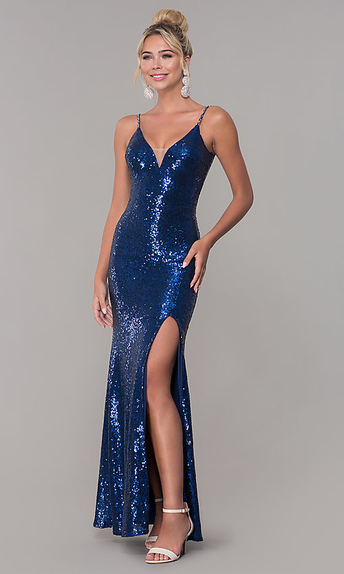 Image of v-neck sequin long navy blue formal prom dress. Style: DQ-2408n Front Image