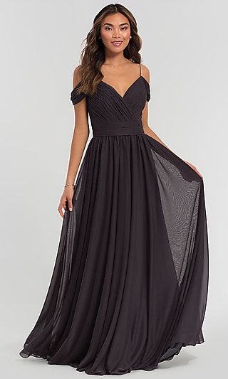 Long Cold-Shoulder Bridesmaid Dress by Kleinfeld