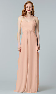Image of ruched long Kleinfeld sweetheart bridesmaid dress. Style: KL-200039-v Detail Image 1