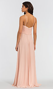 Image of ruched long Kleinfeld sweetheart bridesmaid dress. Style: KL-200039-v Back Image