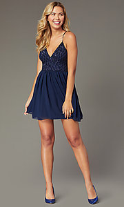 Image of navy short chiffon sequin-bodice homecoming dress. Style: MCR-PL-2600 Front Image