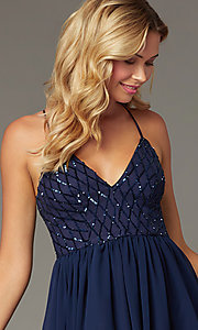 Image of navy short chiffon sequin-bodice homecoming dress. Style: MCR-PL-2600 Detail Image 1