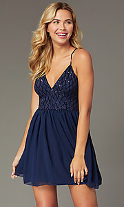 Image of short chiffon sparkly homecoming party dress. Style: MCR-PL-2600 Front Image