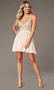 Image of short chiffon sparkly homecoming party dress. Style: MCR-PL-2600 Detail Image 6