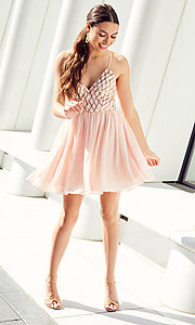 Image of short chiffon sparkly homecoming party dress. Style: MCR-PL-2600 Detail Image 3