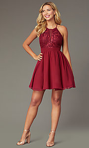Image of burgundy red short chiffon homecoming party dress. Style: DMO-J324519 Front Image