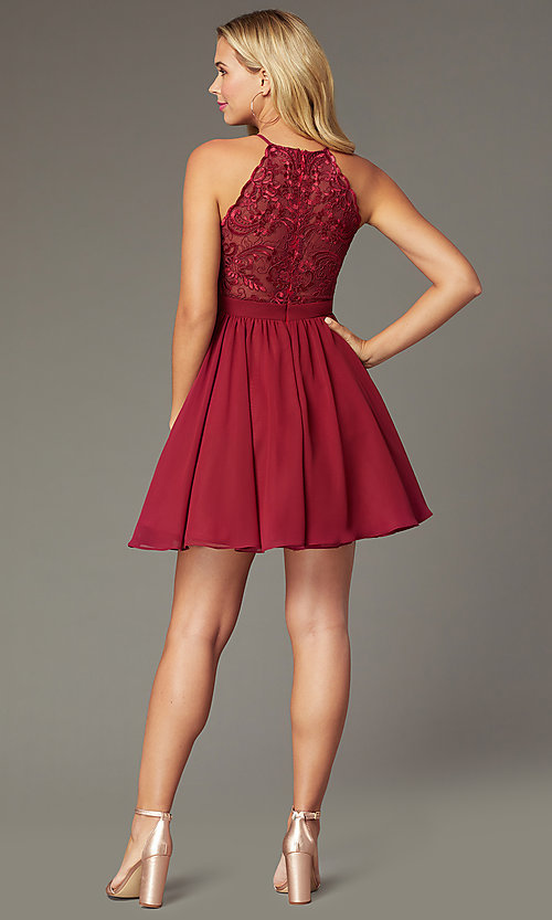 Image of burgundy red short chiffon homecoming party dress. Style: DMO-J324519 Back Image