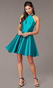 Image of short high-neck homecoming party dress in green. Style: DMO-J324729 Front Image