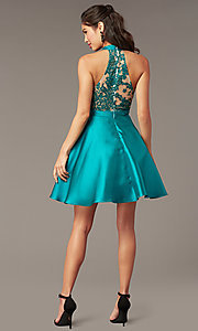 Image of short high-neck homecoming party dress in green. Style: DMO-J324729 Back Image
