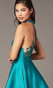 Image of short high-neck homecoming party dress in green. Style: DMO-J324729 Detail Image 1