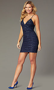 Image of backless sequin navy short homecoming party dress. Style: MCR-PL-2545N Front Image