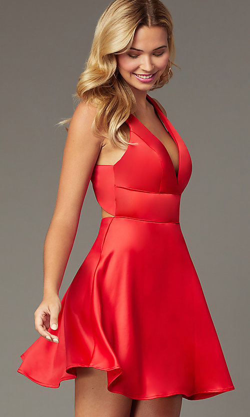 Image of short red satin a-line homecoming party dress. Style: MCR-PL-2490 Front Image