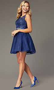 Image of navy short tulle embroidered-bodice homecoming dress. Style: FB-GS9005 Detail Image 1