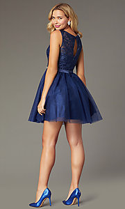 Image of navy short tulle embroidered-bodice homecoming dress. Style: FB-GS9005 Back Image