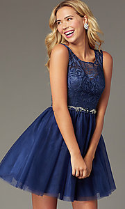 Image of navy short tulle embroidered-bodice homecoming dress. Style: FB-GS9005 Front Image