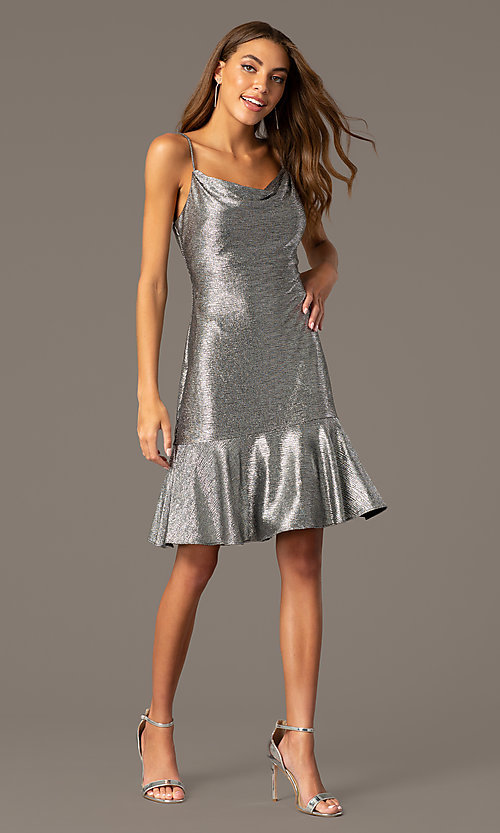 Image of knee-length cowl-neck metallic wedding-guest dress. Style: MO-21831 Front Image