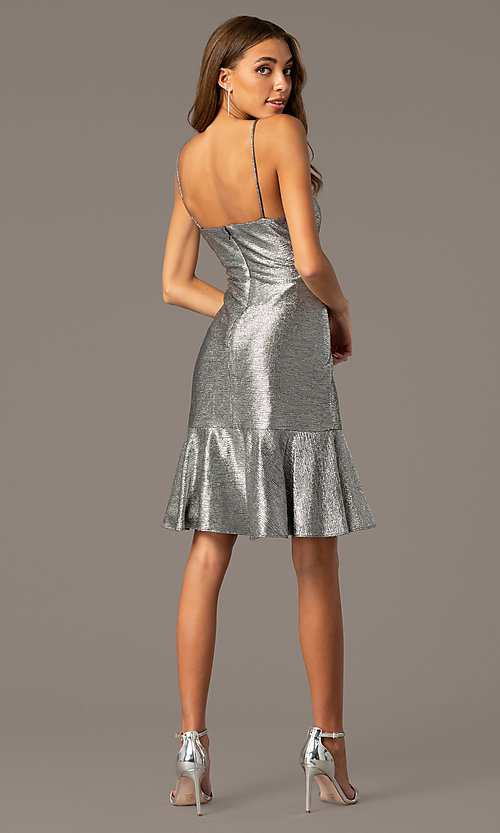 Image of knee-length cowl-neck metallic wedding-guest dress. Style: MO-21831 Back Image