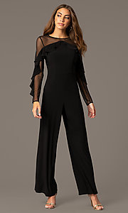 Image of long black party jumpsuit with long sheer sleeves. Style: MO-2308 Front Image