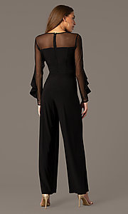 Image of long black party jumpsuit with long sheer sleeves. Style: MO-2308 Back Image