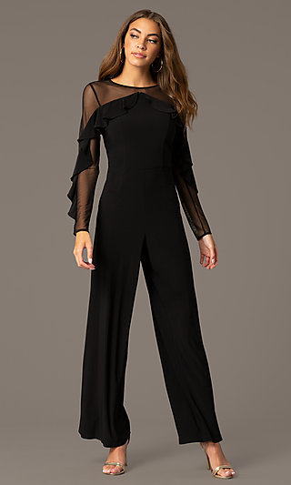 Long Black Party Jumpsuit with Long Sheer Sleeves