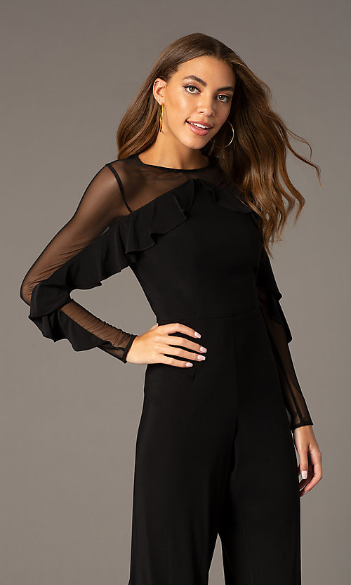 Image of long black party jumpsuit with long sheer sleeves. Style: MO-2308 Detail Image 1
