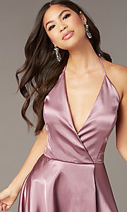 Image of faux-wrap short v-neck halter hoco party dress. Style: BN-1447BN Detail Image 1