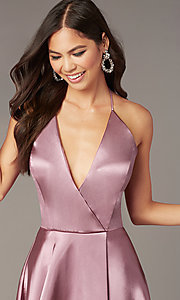 Image of faux-wrap short v-neck halter hoco party dress. Style: BN-1447BN Detail Image 2