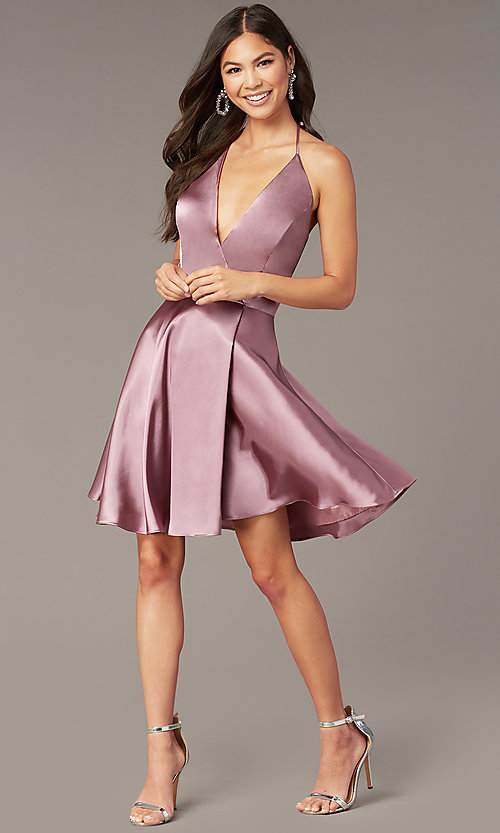 Image of faux-wrap short v-neck halter hoco party dress. Style: BN-1447BN Front Image