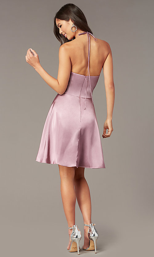 Image of faux-wrap short v-neck halter hoco party dress. Style: BN-1447BN Back Image