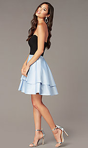 Image of short strapless party dress with sheer sides. Style: BN-1494BN Front Image