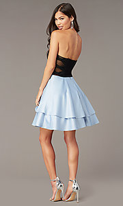Image of short strapless party dress with sheer sides. Style: BN-1494BN Back Image