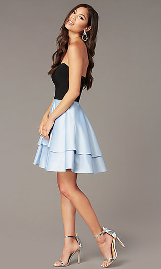 Short Strapless Party Dress with Sheer Sides