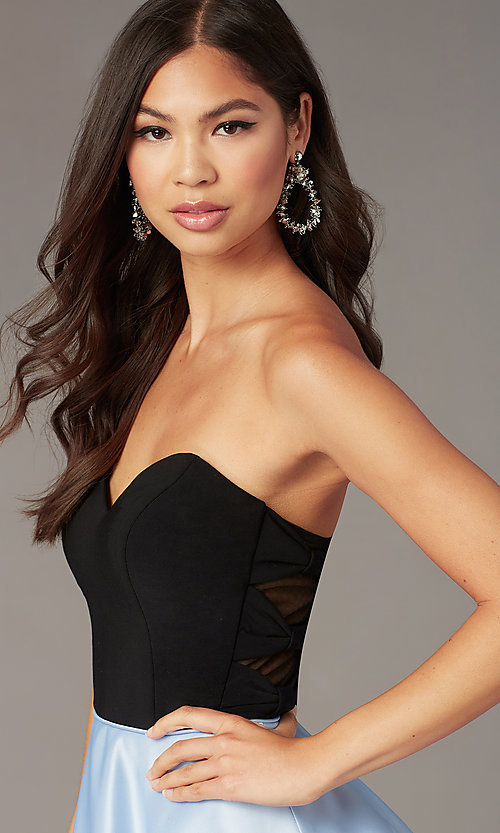Image of short strapless party dress with sheer sides. Style: BN-1494BN Detail Image 1