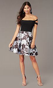 Image of short off-the-shoulder hoco black dress with print. Style: BN-1581BN Front Image
