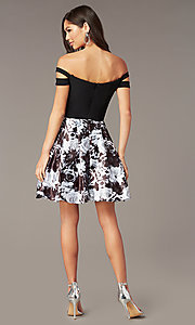 Image of short off-the-shoulder hoco black dress with print. Style: BN-1581BN Back Image