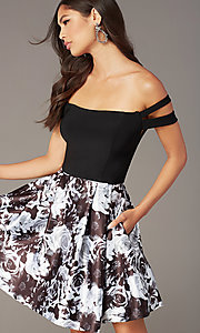 Image of short off-the-shoulder hoco black dress with print. Style: BN-1581BN Detail Image 1