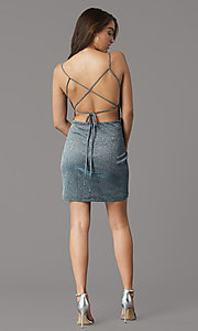 Image of backless glitter-knit short holiday party dress. Style: MY-6035LT1C Back Image