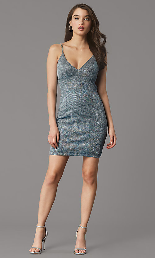 Image of backless glitter-knit short holiday party dress. Style: MY-6035LT1C Front Image