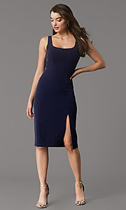 Image of metallic-knit knee-length cocktail party dress. Style: MY-5990AL1C Front Image
